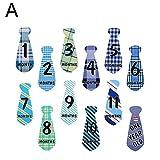 dontdo 12 Stück wasserdichte Baby Gedenknummer Monats-Krawatte Krawatte Aufkleber Fotografie Requisite Dekoration, Papier, 1#, A
