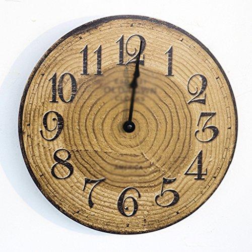 DUS 12 Pouces Horloge Murale Vintage Horloge en Bois Silencieuse Pendule Murale Vintage Decoration