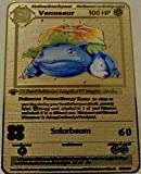 Venusaur 1st Edition Shadowless - Gold Metal Pokemon Card - TCG CCG Custom