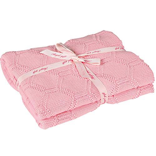 MYLUNE HOME 100% Bio Baumwolle Babydecke Strickdecke 80X100CM Sechseck Gestrickt Kuscheldecke für Babydusche (Rosa)…