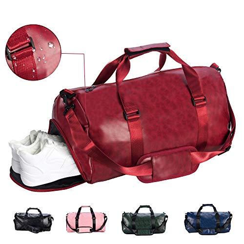 SPGOOD Sporttasche Handgepäck Wasserdicht 30L Reisetasche mit Schuhfach und Schultergurt für Übernachtung Reisen Sport Gym Urlaub Taschen Trainingstasche Fitnesstasche Gym-Tasche (49*23*26cm, Rot)