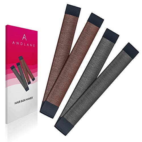 Women's Hair Bun Maker French Twist Hair Fold Wrap Snap by Andlane (1 Black, 1 Brown)