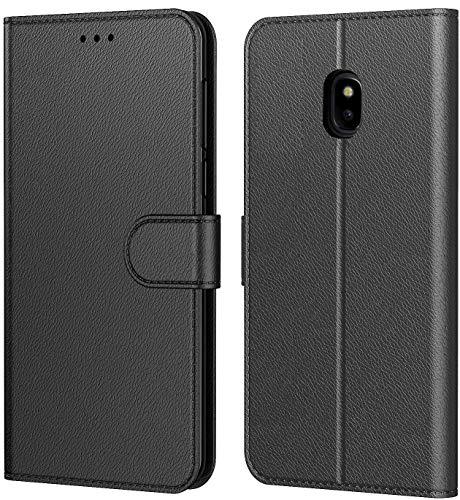 Tenphone Coque Pour Samsung Galaxy j5 2017 (J530), Protection Etui Housse en Cuir Portefeuille Livre,[Emplacements Cartes],[Fonction Support],[Fermeture Magnétique] pour (Samsung J5 2017 (J530), Noir)