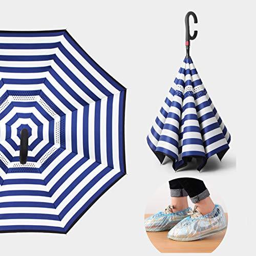ALBN Ombrello inverso Automatico - Ombrelli invertiti - Manico a Forma di C - Doppio Strato - Antivento, con Copriscarpe Impermeabili monouso da 100 Pezzi, Uomo e Donna,Stripe