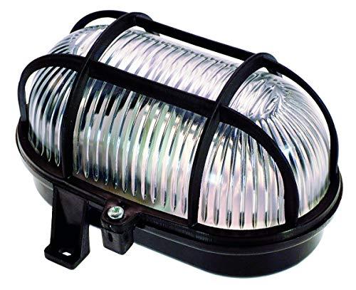 AS-Schwabe 56111 - Luz Oval (60 W, 230 V, para Bombillas con Casquillo E 27, IP 44, Uso en Exteriores), Color Negro
