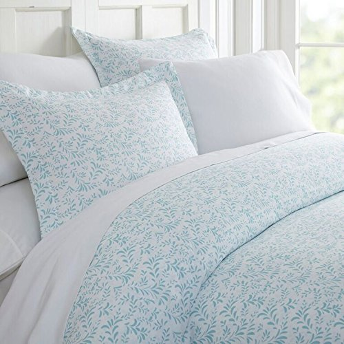 Linen Market IEH-DUV-BOV-TW-LB Home Collection 3pc Duvet Cover Set, Twin, Burst of Vines Light Blue