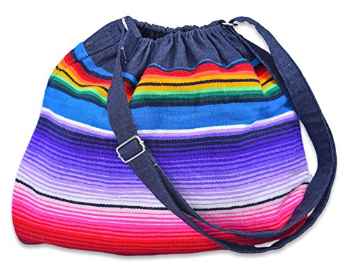 Baja Ponchos Handgefertigte böhmische Tasche aus mexikanischem Serape Blanket – Cinco de Mayo Hippie Boho Denim Geldbeutel