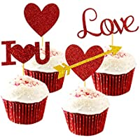 24-Piece Giga Gud Red Heart Cupcake Decoration