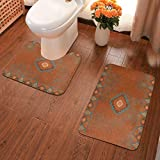 LONEA Western Southwest Canyons Tribal Native Desert Bathroom Rugs Mats Set 2 Pieces, Non-Slip Bathroom Rugs Washable Shower Bath Mat U-Shape Contour Toilet Rug