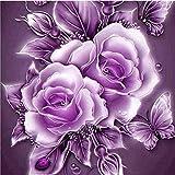 KINGCOO 5D DIY Pintura de Diamantes, 5D Mariposa Flor Rosa Pintura Taladro Completo Diamantes de Imitación de Cristal Bordado Imágenes Artesanía para Casa Decoración (Púrpura Flor)