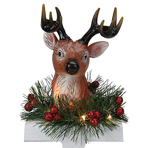 Roman 8' LED Lighted Reindeer and Holly Berry Christmas Stocking Holder