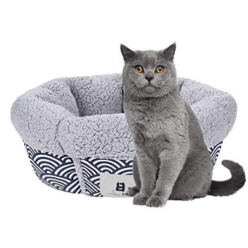 ITODA - Cesta redonda para gato, perro, cama, gato, cachorros, suave y cómoda, alfombra para mascotas de compañía, transpirable, nido de animal dormir, lavable, sofá para gatos y perros