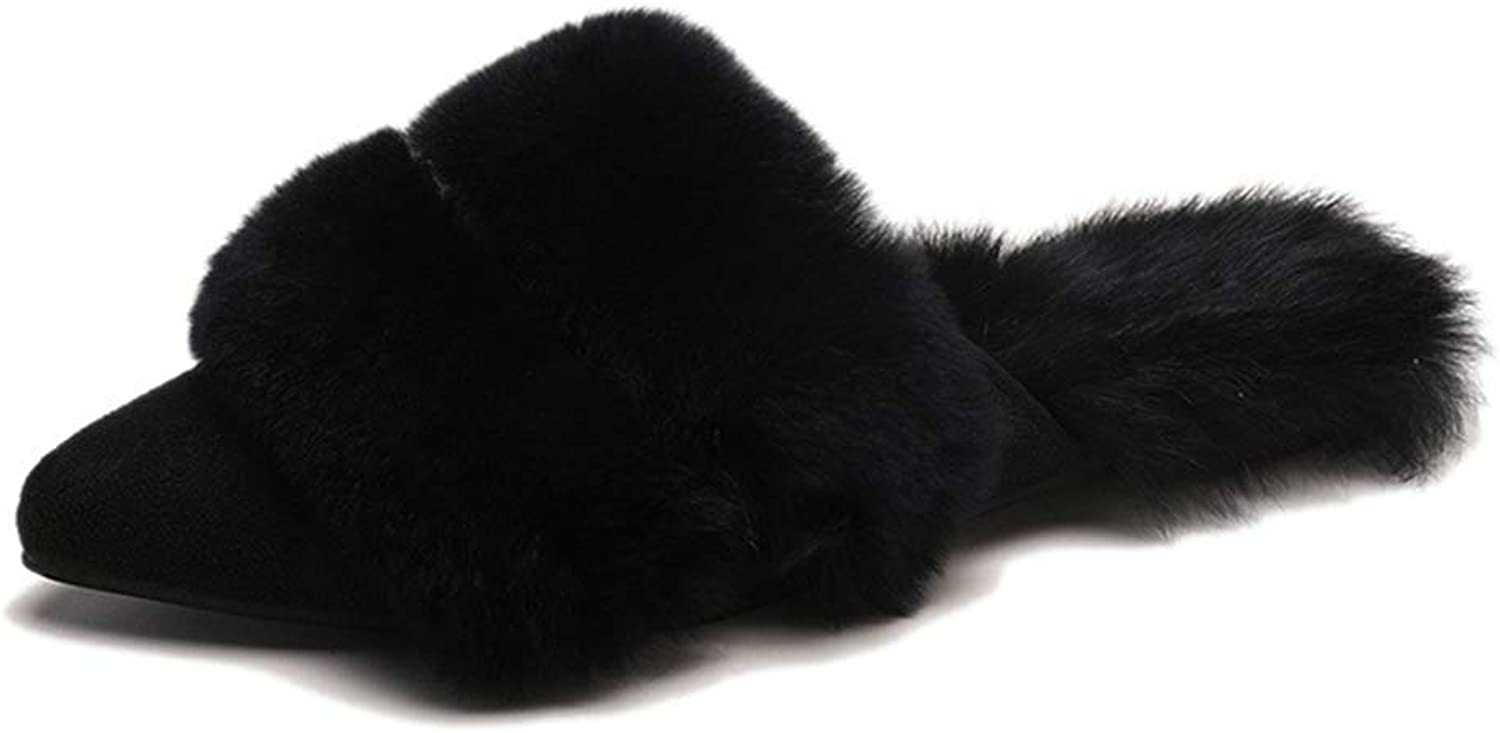 ASO-SLING Women Fur Fox Warm Plush Slippers Pointed Toe Slides Flats Hair Ball Loafers Cross-Tied Winter shoes