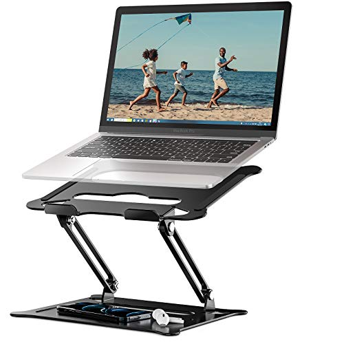 Portable Laptop Stand, Foldable Laptop Holder with Heat-Vent, Ergonomic Aluminum Computer Stand for Desk, Adjustable Laptop Riser for Macbook Pro/Air, Dell, HP, Lenovo, More 11-17' Laptop