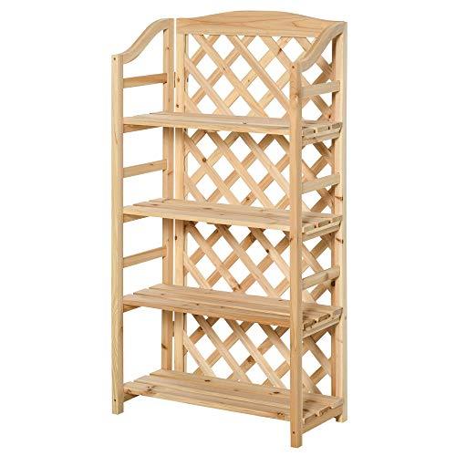 Outsunny Scaffale Portapiante Pieghevole con 4 Mensole Regolabili, Arredamento da Giardino e Casa in Legno, 67x33x123cm