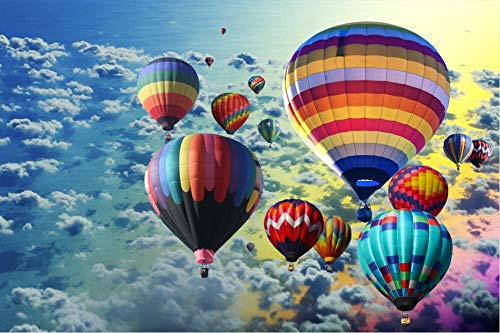 Puzzel 1000 Pieces for Volwassenen Riverside Hot Air Balloon Children's puzzel Toy, Landschap puzzel, DIY Collectibles Grote Puzzle Game Toys (Color : A)