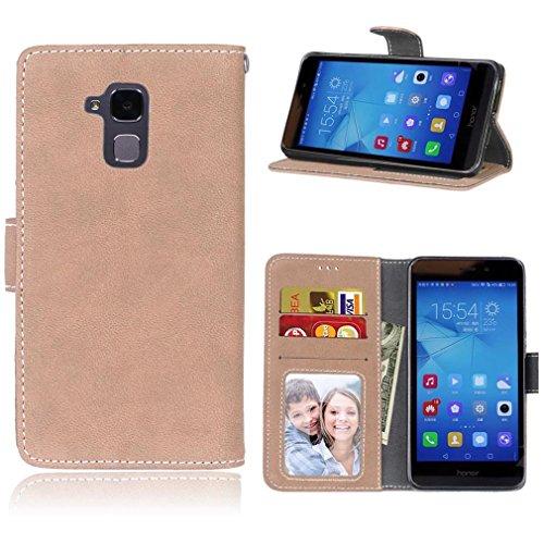 LMAZWUFULM Hülle für Honor 5C / Honor 7 Lite/Huawei GT3 (5.2 Zoll) PU Leder Magnet Brieftasche Lederhülle Gefrostet Design Standfunktion Ledertasche Flip Cover Khaki
