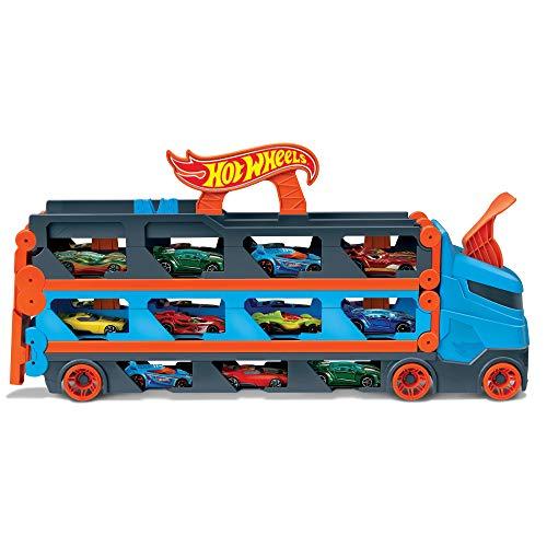 Hot Wheels Camión de transporte convertible en pista para coches de juguete, almacena 20...