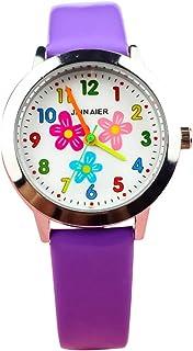Hemobllo Children Quartz Watch Flower Watch with Leather Strap Birthday Gift Sport Watch
