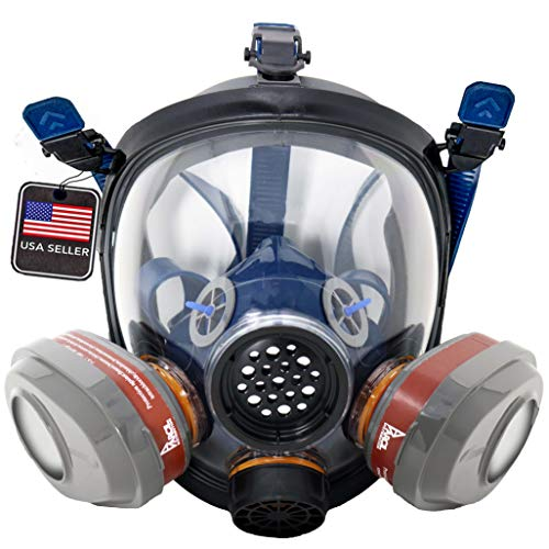 PD101 Full Face Organic Vapor Respirator – Full Manufacturer Warranty – ASTM Tested – Double Activated Charcoal Air filter – Eye Protection – Industrial Grade Quality