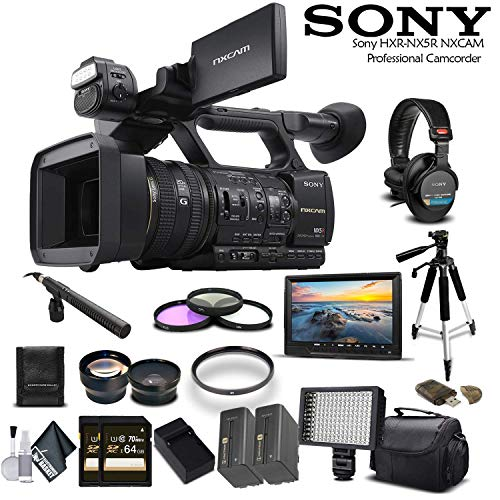 Sony HXR-NX5R NXCAM Camcorder (HXR-NX5R) with 2-64GB Cards, 2 Extra Batteries, LED Light, Case, Tripod, Mic, External Screen, and Sony MDR-7506 Headphones - Professional Bundle
