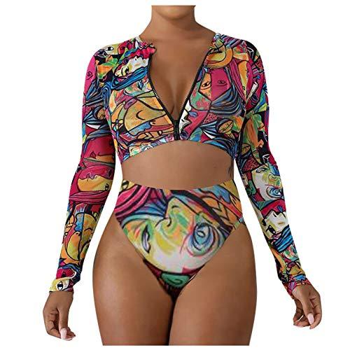 Marrmo Bikini dividido para mujer, parte superior de bikini push-up, parte superior de bikini con fruncido de cintura alta, ropa de baño deportiva de 2 piezas (negro, M)