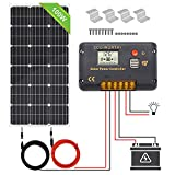 ECO-WORTHY 100 Watt 12 Volt Monocrystalline Solar Panel Off Grid Kit: 100 Watt Solar Panel+ 20A LCD Display Charge Controller