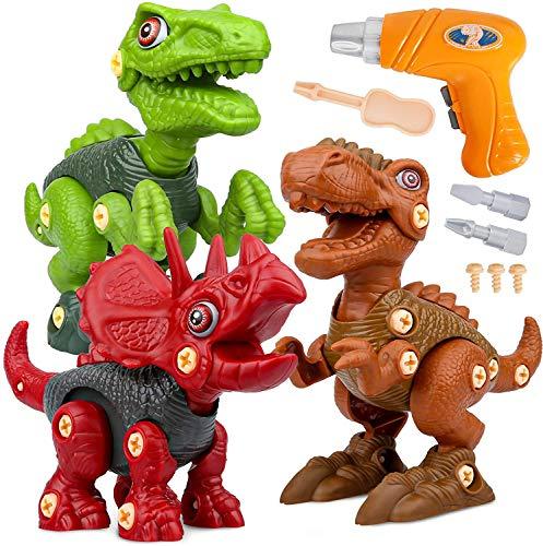 Dinosaurios Juguetes con Taladro Eléctrico, Juego Construccion Puzzle Dinosaurios Incluyen Tiranosaurio Rex,...