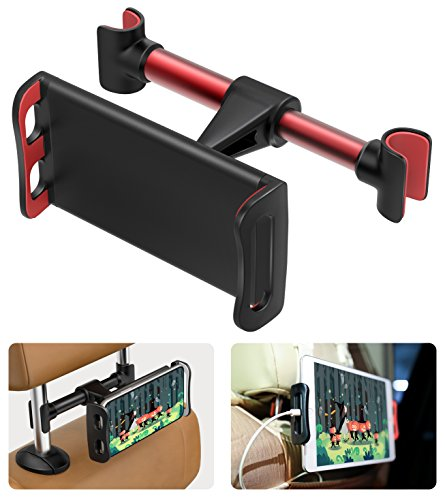 MoKo Headrest Phone/Tablet Car Mount, Adjustable Tablet Holder for 4-11' Devices, Fit with iPhone 11 Pro Max/11 Pro/11, iPhone Xs/Xs Max/XR, iPhone SE 2020, iPad Pro 11 2020, Galaxy S20 6.2' - Red