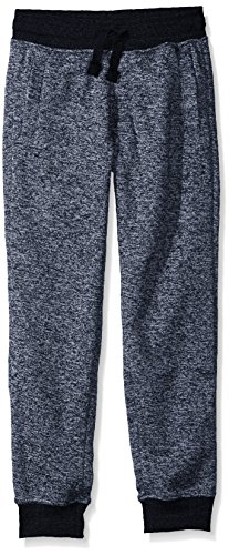 Southpole Boys' Big Jogger Fleece Pants in Basic Colors, Marled Navy(New/Logo Patch), Large-14/16