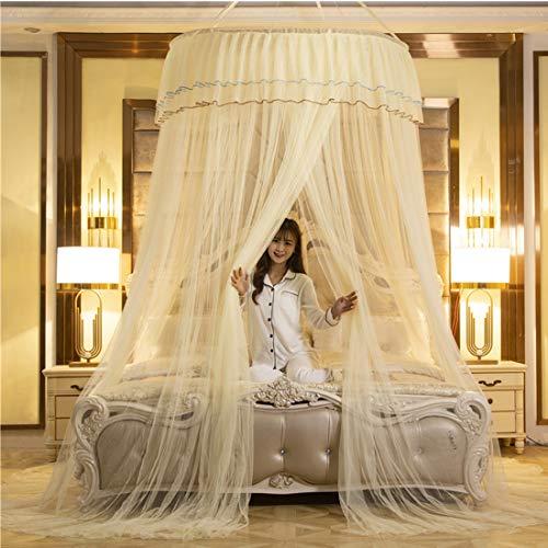 Bed Canopy Gordijn Klamboe Klamboe Bed Canopy bescherming tegen insecten Makkelijke installatie slaapkamer decoratie Dome Princess Room Tent,Yellow