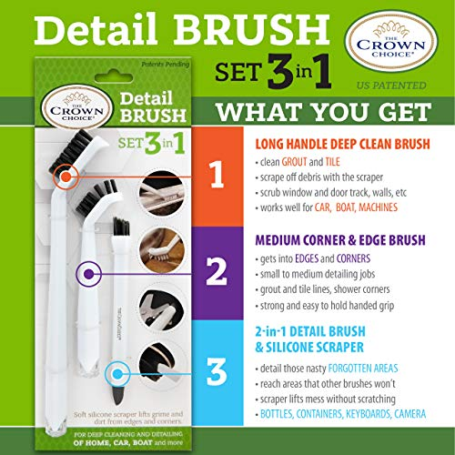 Grout Cleaner Brush with Stiff Angled Bristles and 3-in-1 Grout Cleaning Brush Supplies to Deep Clean Tile Lines, Detail Kitchen, Scrub Bathroom, Shower | 4Pc Home Detail and Grout Cleaner Brushes Set