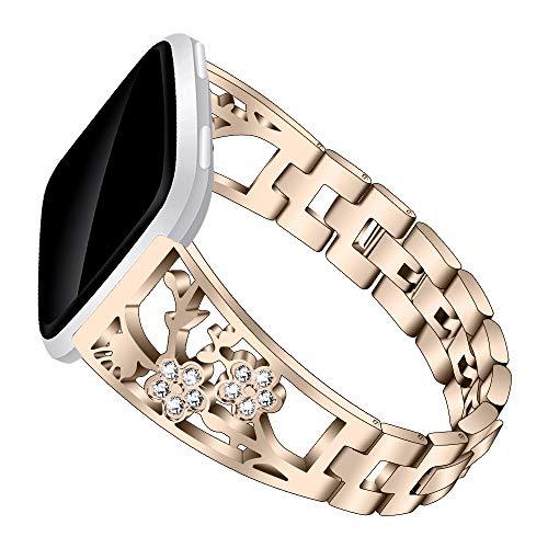Yimiky Bling - Bandas compatibles con Fitbit Versa Lite, pulseras de metal para mujer con diamantes de imitación, correa de metal de fácil ajuste para Fitbit Versa/Versa 2/Versa Lite, color dorado