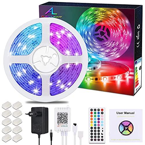 Striscia LED 10M Bluetooth, ALED LIGHT Led Strip / Nastri Led 10m RGB 5050 SMD 300 Leds con 44 Telecomando Chiave Alimentatore 12V Ricevitore Bluetooth, per la Decorazione di Ambienti Interni