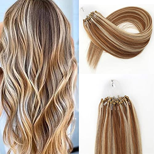 Kun Na Remy Micro Ring Human Hair Extensions 1g/Strand ,50g Real Virgin Loop Hair For Woman (18inch, #P8/613) Microlink Hair Extensions