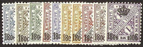 Goldhahn Württemberg Nr. 217-226 postfrisch  Briefmarken für Sammler