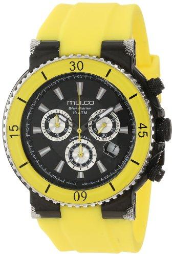 Mulco Herren & Damen 47mm Chronograph Gelb Plastik Armband Uhr MW3-70603-099