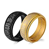 8MM Black & Gold Plated Men Women Titanium Steel Ring Rotating Religion Muslim Jewelery Band Gifts with Shahada Black Size 8 US