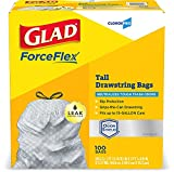 Glad ForceFlex Tall Kitchen CloroxPro Drawstring Trash Bags 13 Gallon Grey Trash Bag, Unscented 100 Count (70427) Package May Vary