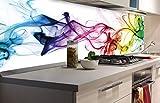 DIMEX LINE Küchenrückwand Folie selbstklebend Rauch 180 x 60 cm | Klebefolie - Dekofolie - Spritzschutz für Küche | Premium QUALITÄT