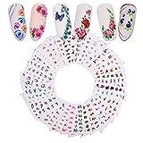 AIUIN 48 Piezas Pegatina de Uñas Patrón de Hermosa Mariposa de Flores Guías de Clavar Tip Pegatinas Conjunto con Uñas de Manicura