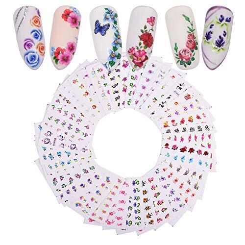 Aiuin - Adesivi per unghie, sottile, fai da te, con guide per attaccarli, set per manicure, 10pezzi, Stile 10