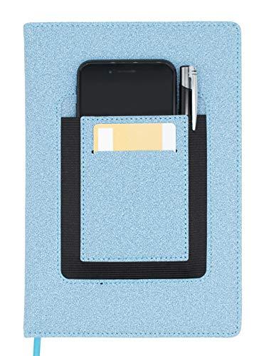 Libreta A5 a rayas con bolsillo delantero para smartphone, tarjeta de visita y bolígrafo, color azul