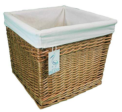 Cestas de mimbre cuadradas, color gris y natural Forro extraíble lavable. Estante decorativo solución de almacenamiento. Tamaño grande natural, 45 L