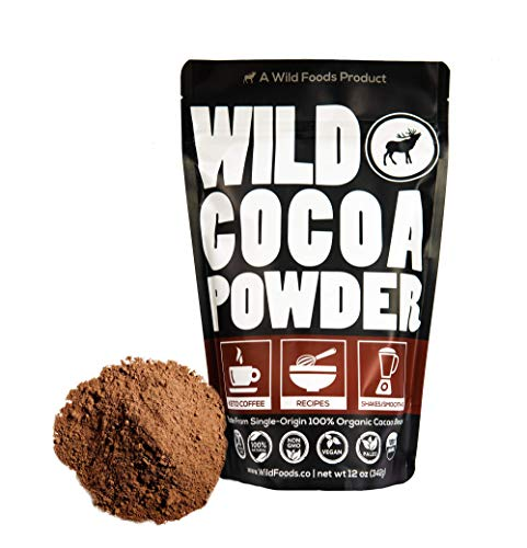 Wild Foods Organic Cocoa Powder - Single-Origin Unsweetened Keto Chocolate Powder for Cooking & Baking - Made from Premium Cacao Beans - Sugar Free Non Dutch Raw Superfood Powder - 12 oz