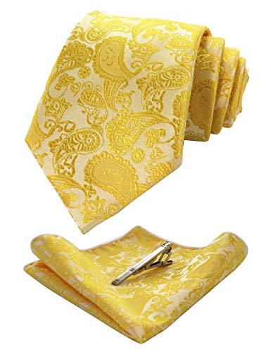 JEMYGINS Gelb krawatte Paisley Seide Herren Krawatten und Einstecktuch mit krawattenklammer Sets (5)
