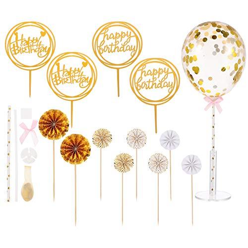 STOBOK 14 Piezas de Decoración de Pastel de Cumpleaños Globo Brillante Mini Círculo de Ventilador Guirnalda Magdalena Elegir Postre Decoración de Pastel de Panadería para Casa Tienda