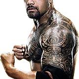 Leoars Extra Large Temporary Tattoo Similar the Rock Arm Chest Big Totem Body Tattoos Sticker Tribal Fake Black Tattoo for Men Women Makeup Waterproof, 6-Sheet