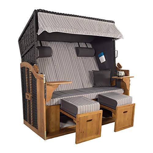 XXL 2,5-Sitzer Schwarz Strandkorb Hörnum Grau (als Bausatz, Grau Nadelstreifen)