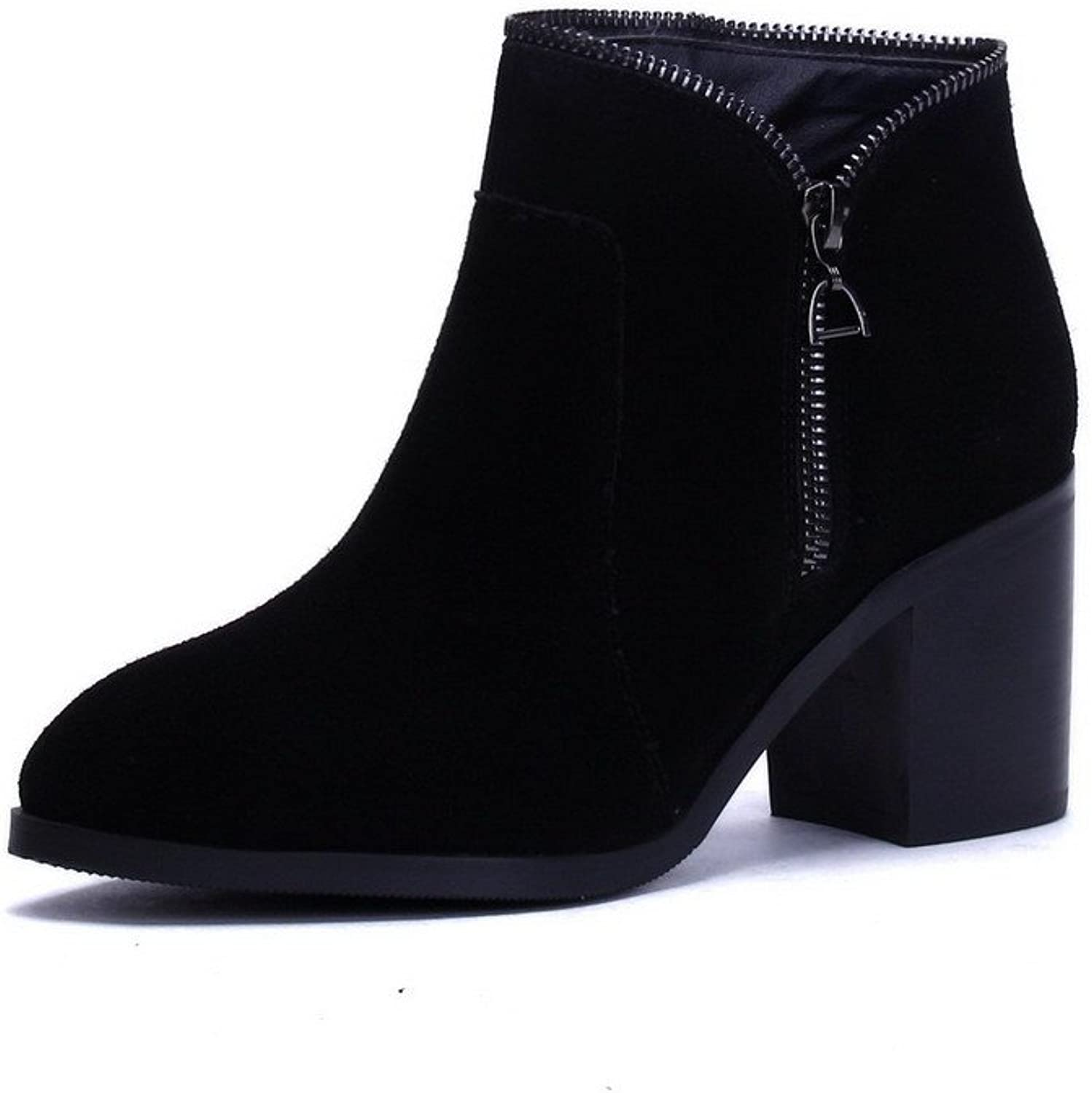 AmoonyFashion Women's Round-Toe Closed-Toe Kitten-Heels Boots with Slipping Sole and Chunky Heels